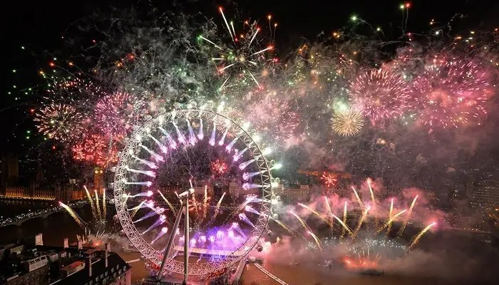 Ferociously beautiful fireworks during New Year celebration in Thailand