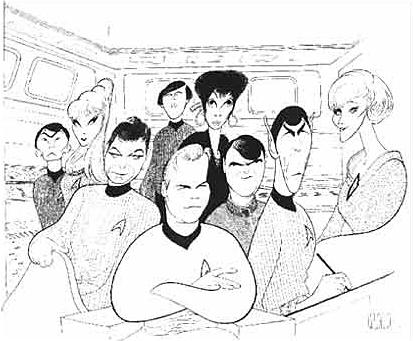 A New Hirschfeld Draws Star Trek's New Crew