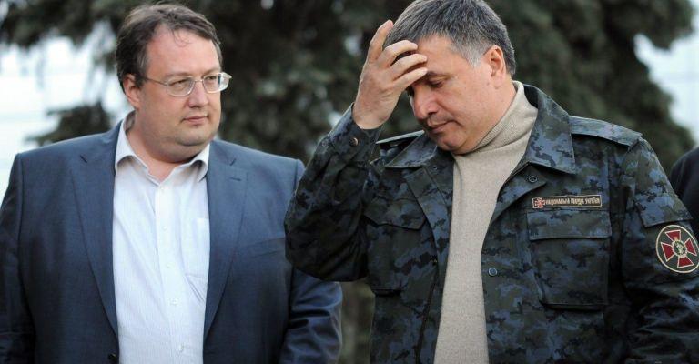 Министр внутренних дел Украины Арсен Аваков с советником и нардепом Антоном Геращенко