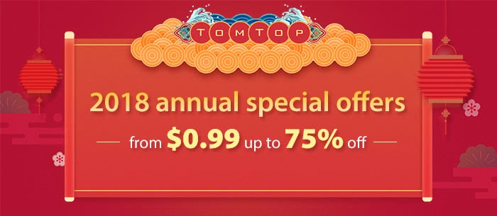From $0.99 up to 75% off 2018 annual special offers--Tomtop.com