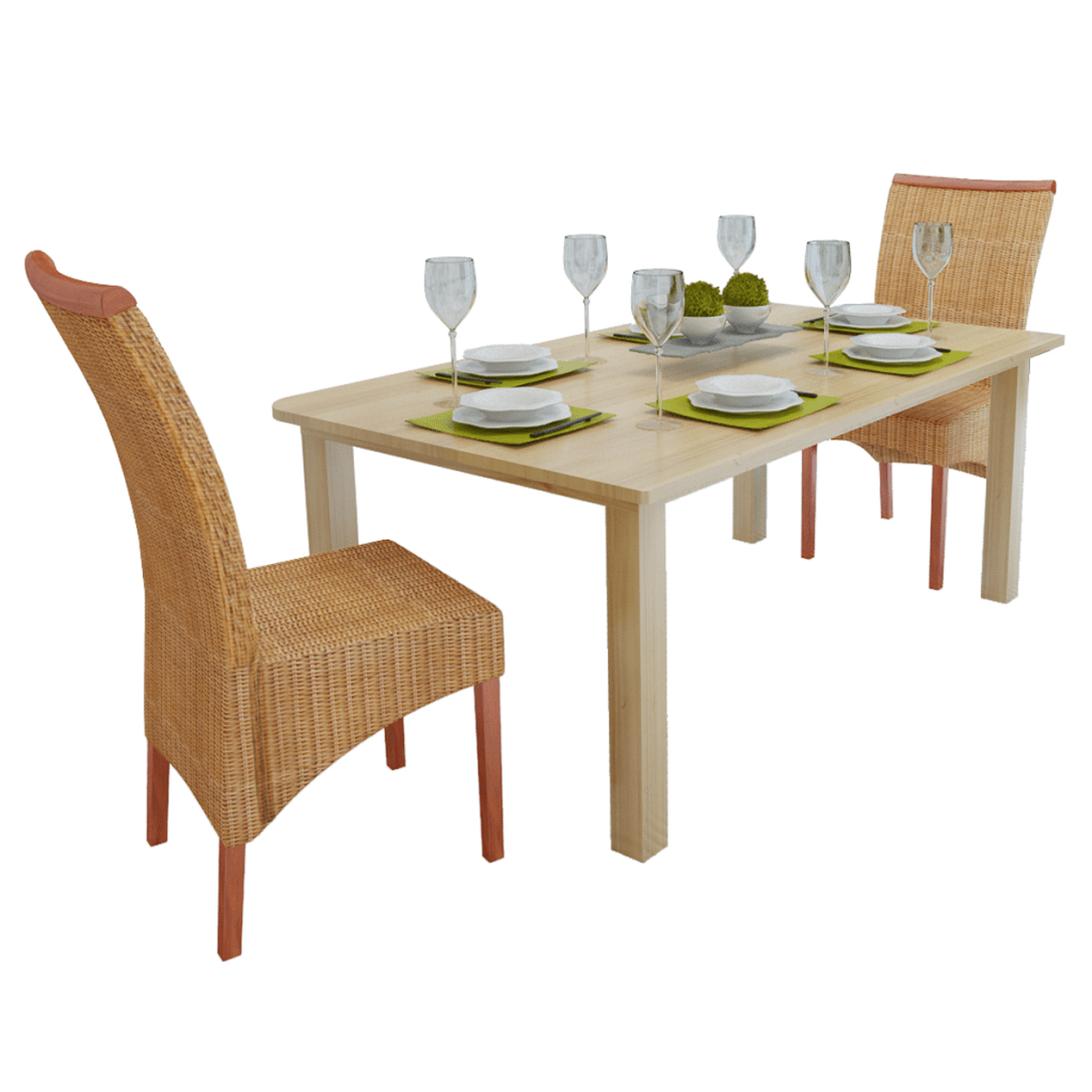2 chairs and table rattan guidecraft media desk chair set wood in woven with wooden decorations