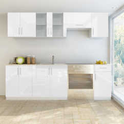 Kitchen Cabinet Unit Island With Stove Top White 7 Pcs High Gloss 240 Cm Lovdock