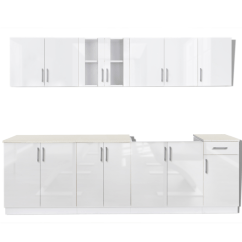 Kitchen Cabinet Unit Equipment For Sale White 8 Pcs High Gloss With Sink Base 260 Cm