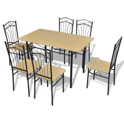6 Chair Dining Set Morris Hardware Wood Light Brown 1 Table With Chairs Lovdock Com