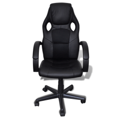 Office Chair Height Covers Gladstone Black Artificial Leather Adjustable