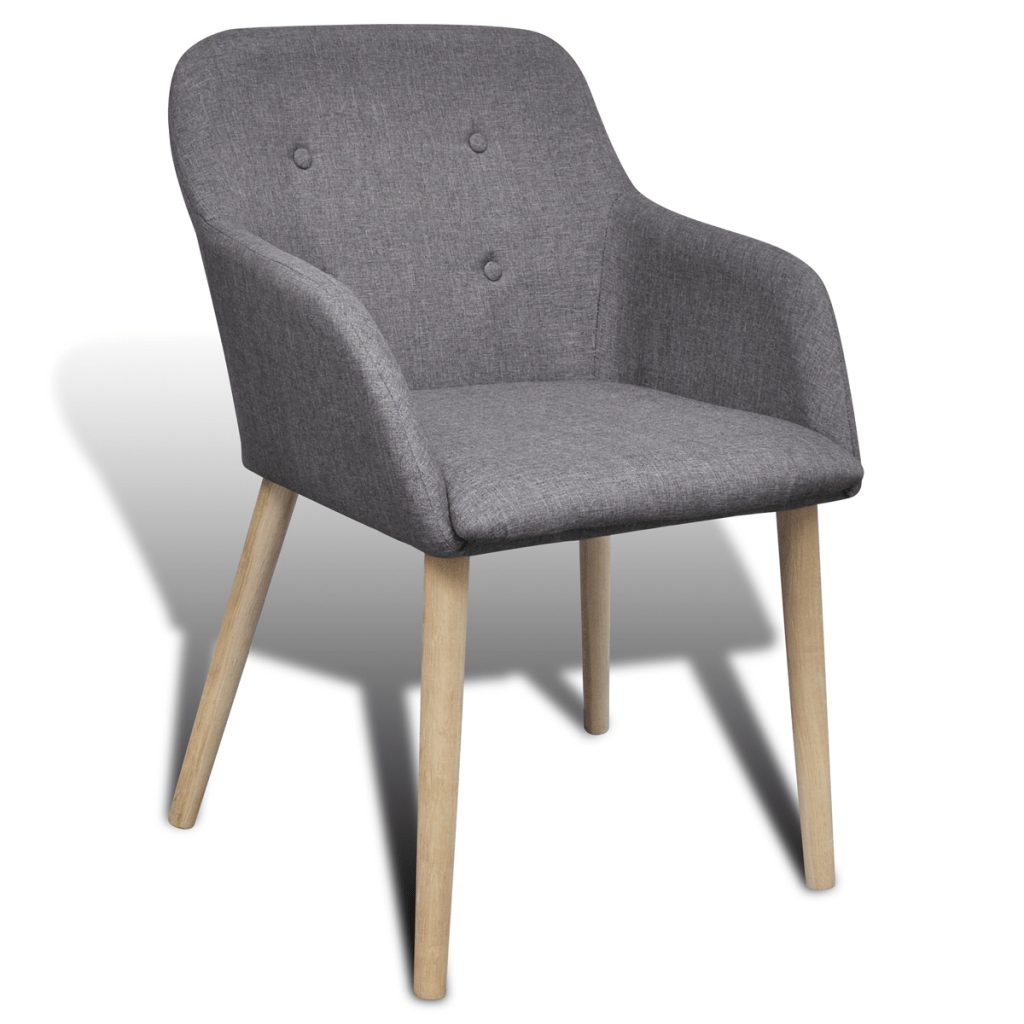 dining chair with armrest outwell accessories dark gray oak indoor fabric set 4 pcs grey