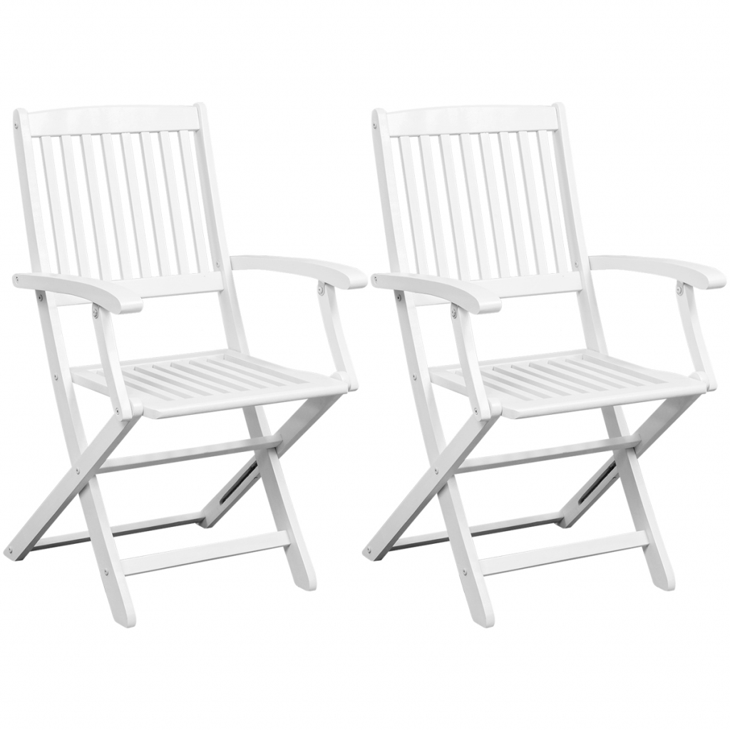 Foldable Dining Chairs White Folding Dining Chairs 2 Pcs White Acacia Wood Lovdock