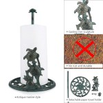 Tooarts Cast Iron Vertical Paper Towel Holder Animal Toilet Paper Holder Free Standing Bathroom Accessory Kitchen Roll Paper Holder Home Decor