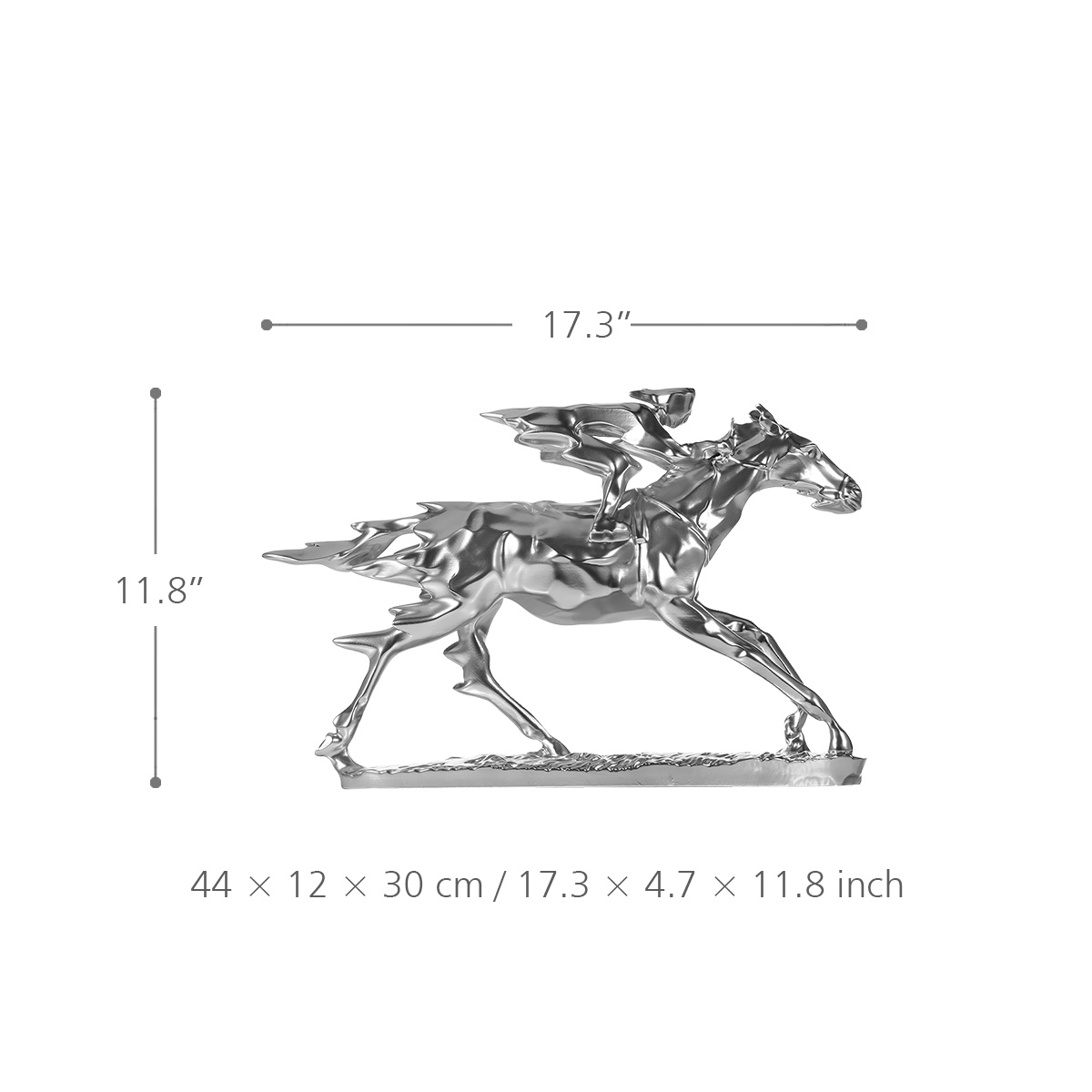 Best And Cheap Silver Horse Racing Knight Resin Sculpture