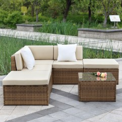 Wicker Sofa Sets Uk Cushion Pillow Cases Brown Ikayaa 6pcs Outdoor Patio Sectional Rattan Set Light