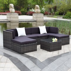 Wicker Sofa Sets Uk Small E Recliner Gray Ikayaa 7pcs Outdoor Patio Rattan Sectional Set
