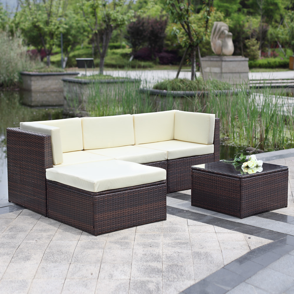 wicker sofa sets uk lazy boy blue brown ikayaa 5pcs outdoor patio sectional rattan set