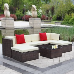 Wicker Sofa Sets Uk Best Leather Manufacturers Canada Brown Ikayaa 7pcs Outdoor Patio Garden Rattan Sectional Set