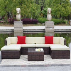 Wicker Sofa Sets Uk Southwestern Style Bed Brown Ikayaa 7pcs Outdoor Patio Sectional Rattan Set