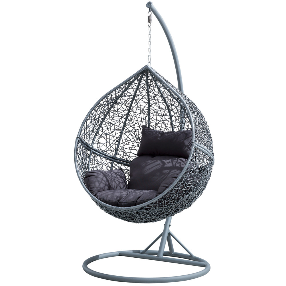 fauteuil suspendu de jardin en resine tressee grise jupiter