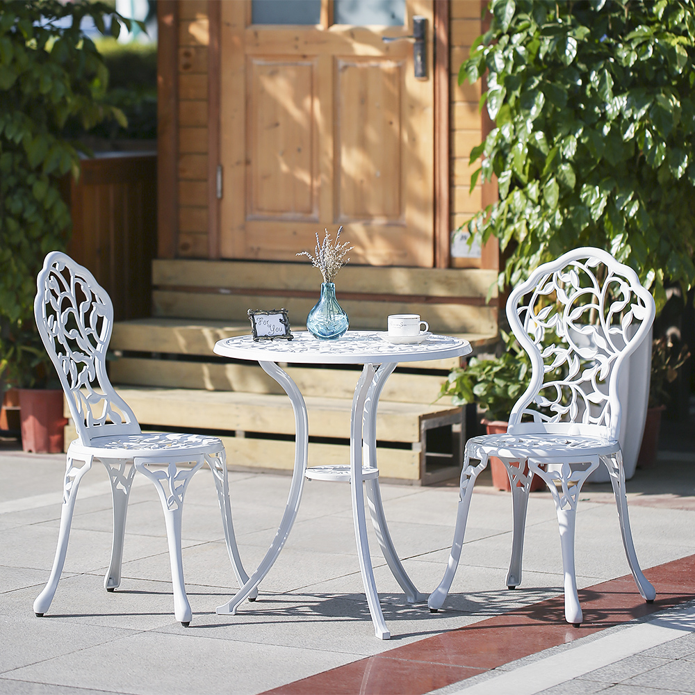 Outdoor Table And Chair Set White Ikayaa 3pcs Modern Outdoor Patio Bistro Set Aluminum Porch Balcony Garden Table Chairs Set Lovdock