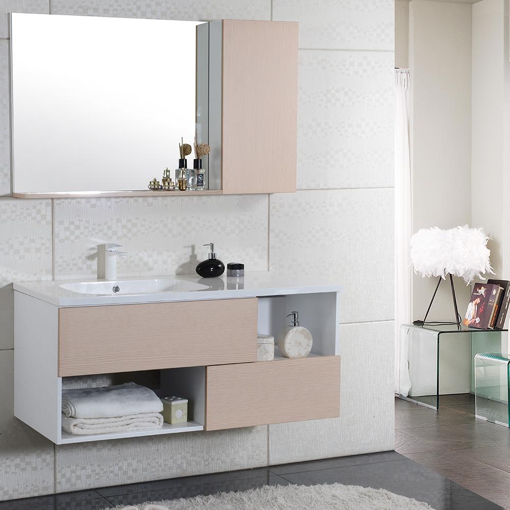 Nur 100 00 Naturliches Holz Java Meuble Salle De Bain Suspendu Simple Vasque 120cm Miroir Armoire Interouge