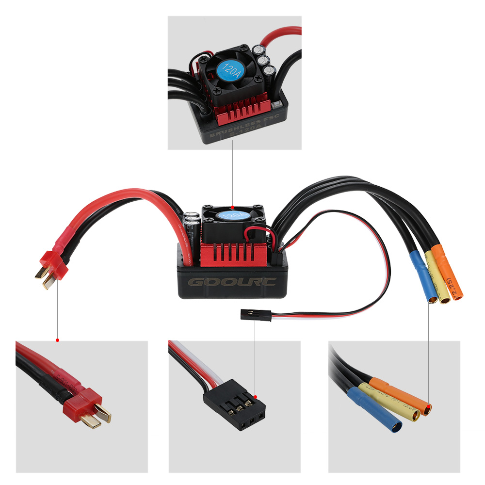 medium resolution of goolrc s3674 2650kv sensorless brushless motor 120a brushless esc rh rcmoment com rc car motor wiring