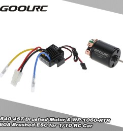 goolrc 540 45t 4 poles brushed motor and wp 1060 rtr 60a waterproof brushed esc electronic speed controller with 5v 2a bec for 1 10 rc car rcmoment com [ 1000 x 1000 Pixel ]