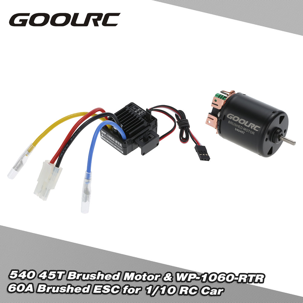 hight resolution of goolrc 540 45t 4 poles brushed motor and wp 1060 rtr 60a waterproof brushed esc electronic speed controller with 5v 2a bec for 1 10 rc car rcmoment com