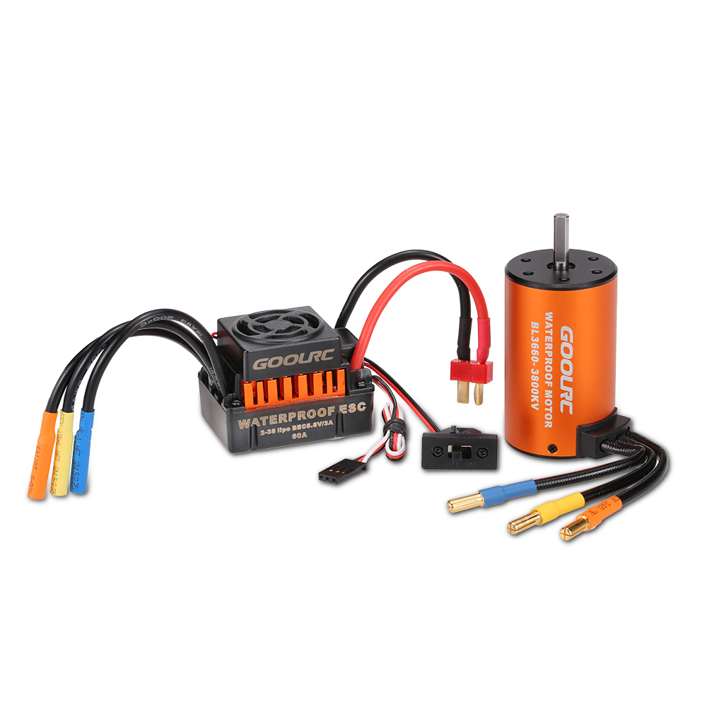 hight resolution of goolrc upgrade waterproof 3660 3800kv brushless motor with 60a esc combo set for 1 10 rc car truck