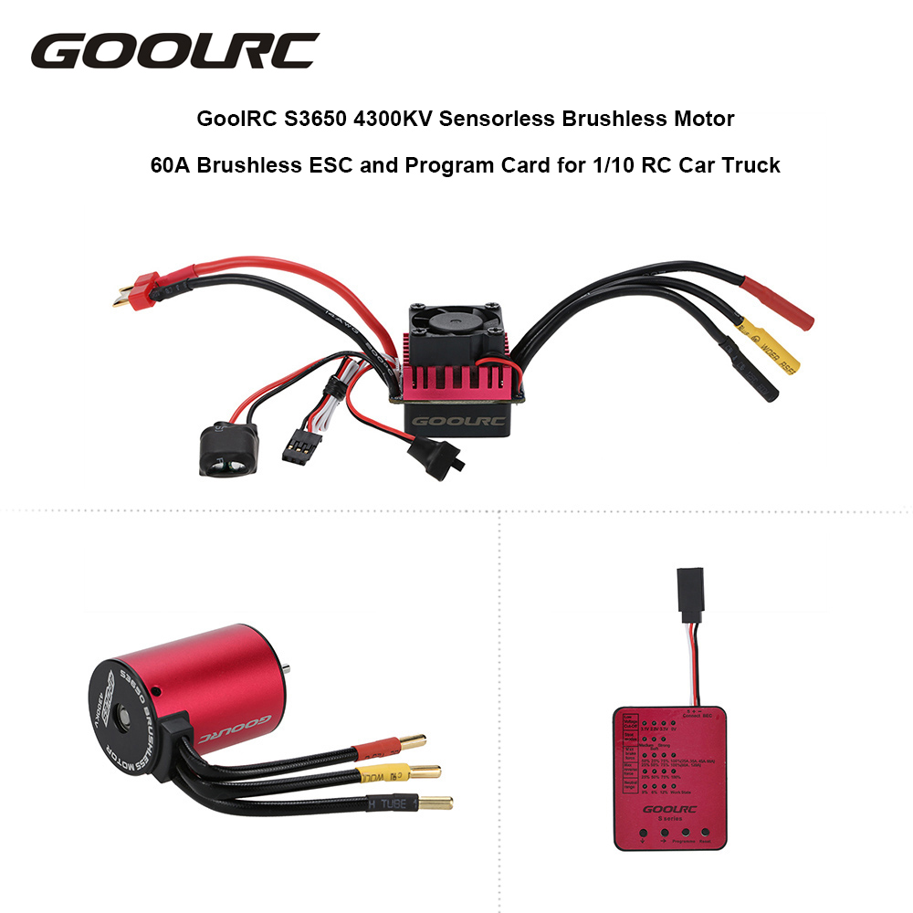 medium resolution of goolrc s3650 4300kv sensorless brushless motor 60a brushless esc and program card combo set for 1 10 rc car truck