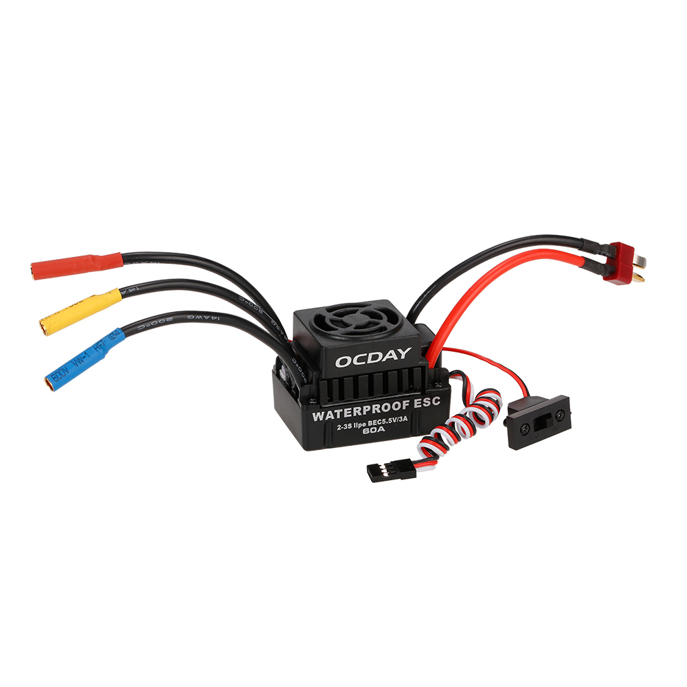 hight resolution of ocday 60a 2 3s brushless esc electric speed controller with 5 8v 3a bec for 1 10 rc on road off road buggy monster car