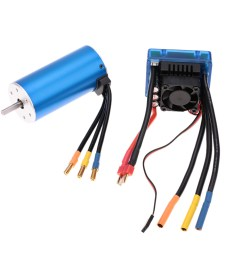3674 2250kv 4p sensorless brushless motor with 120a brushless esc electric speed controller for 1 8 rc car truck [ 1000 x 1000 Pixel ]