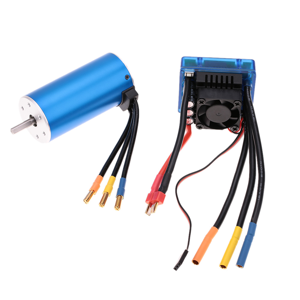 medium resolution of 3674 2250kv 4p sensorless brushless motor with 120a brushless esc electric speed controller for 1 8 rc car truck