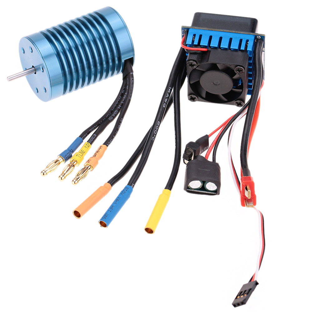 hight resolution of 3650 4370kv 4p sensorless brushless motor with 45a brushless esc electric speed controller for 1 10 rc off road car rcmoment com