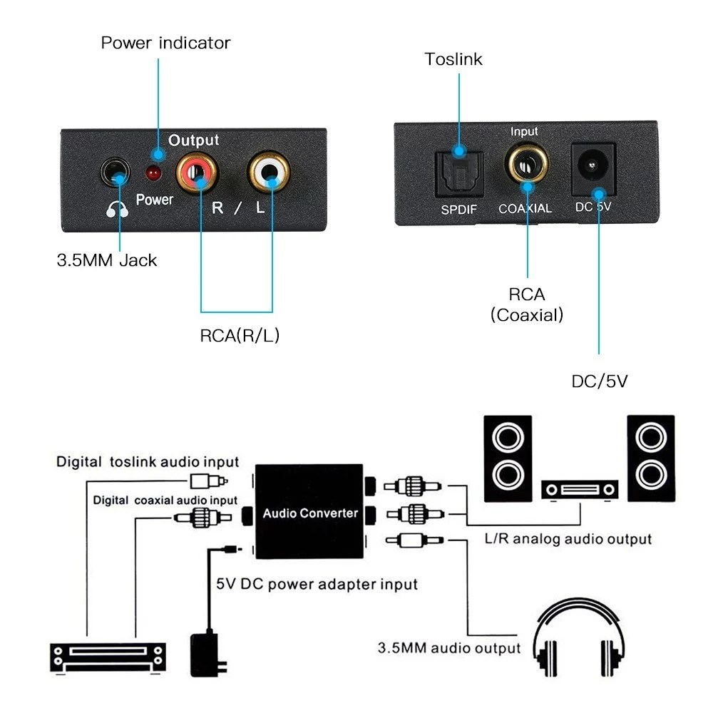 hight resolution of digital to analog audio converter toslink and spdif coaxial inputs to analog rca l r and aux 3 5mm jack support headphone outputs sales online tomtop