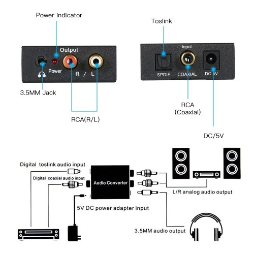 small resolution of digital to analog audio converter toslink and spdif coaxial inputs to analog rca l r and aux 3 5mm jack support headphone outputs sales online tomtop