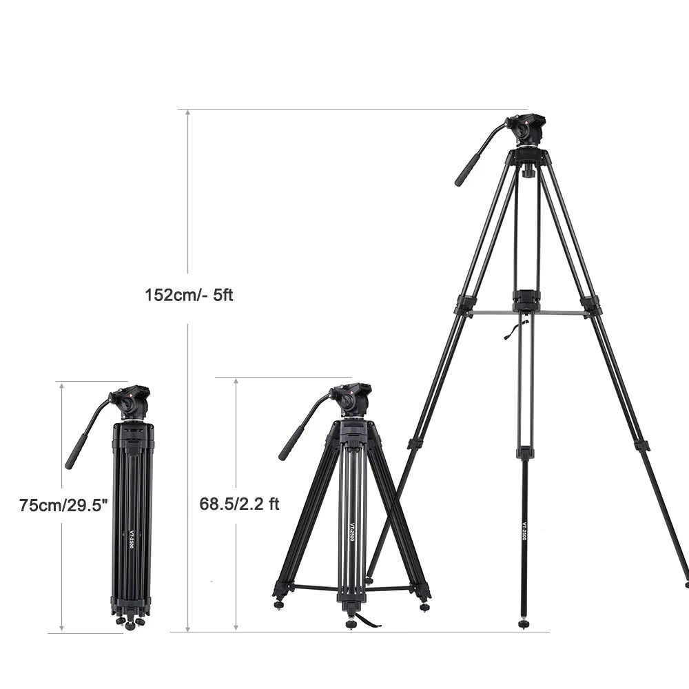 Kingjoy VT-2500 152cm/5ft Camera Camcorder Tripod with 360