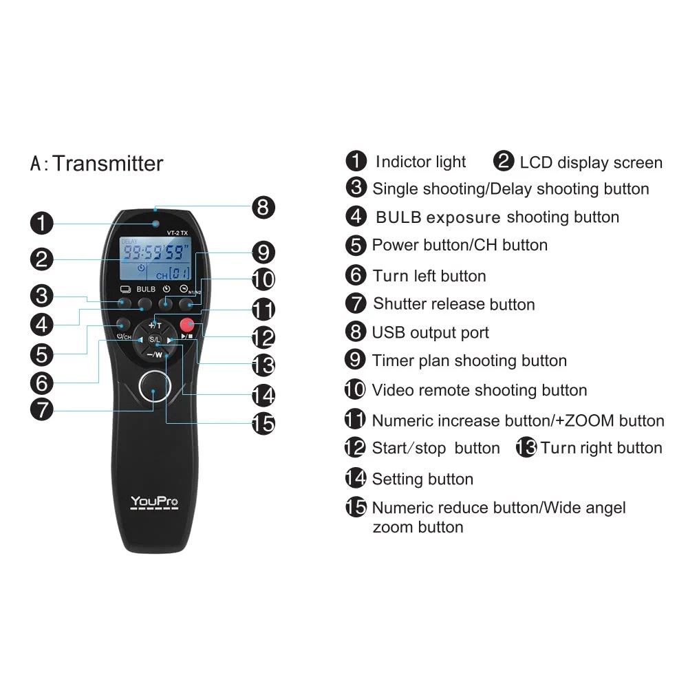 YouPro VT-2 Wireless Remote Control Commander LCD Timer