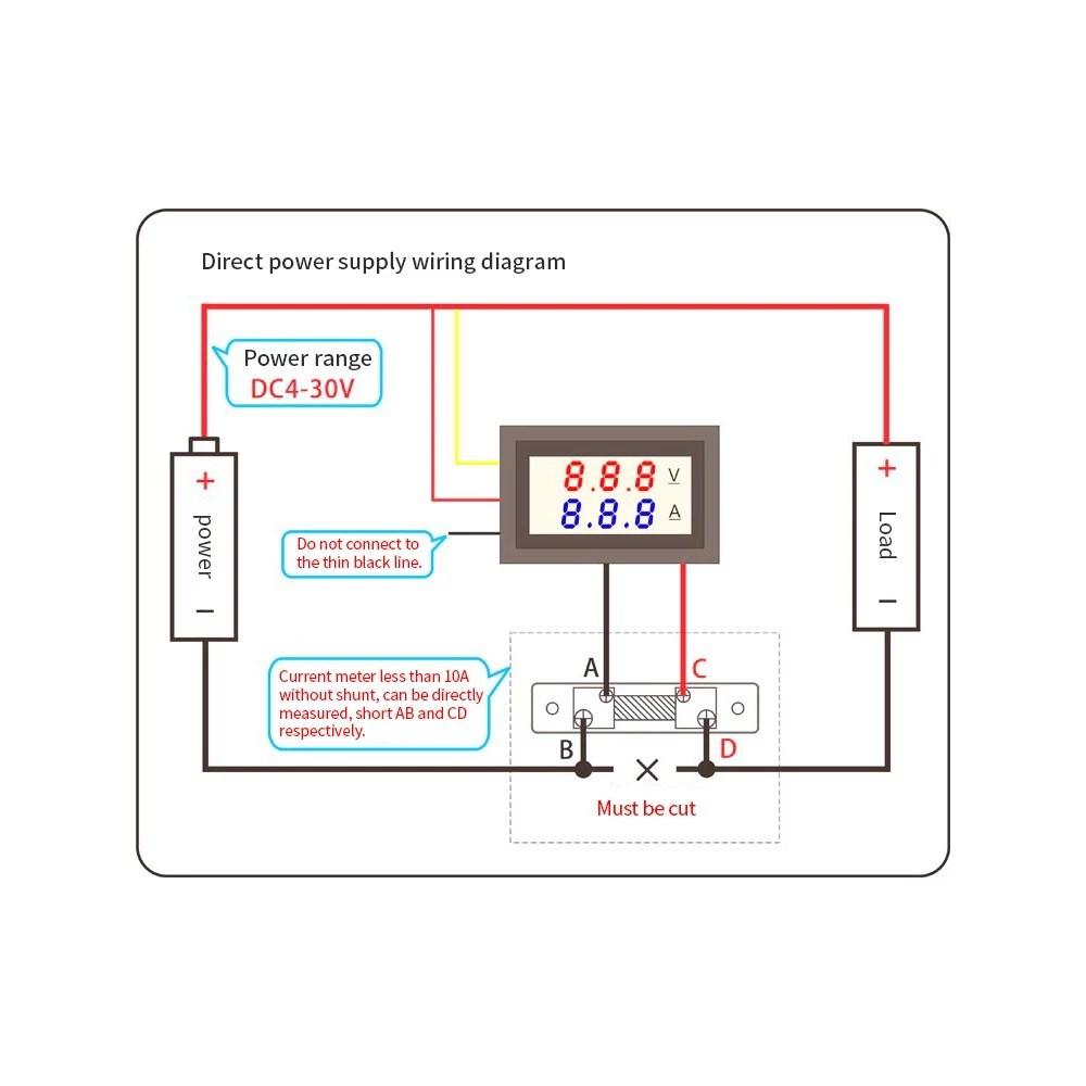 hight resolution of led dc0 100v 10a digital voltmeter ammeter red blue dual color display voltage and ampere meter volt amp gauge panel