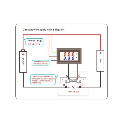 small resolution of led dc0 100v 10a digital voltmeter ammeter red blue dual color display voltage and ampere meter volt amp gauge panel