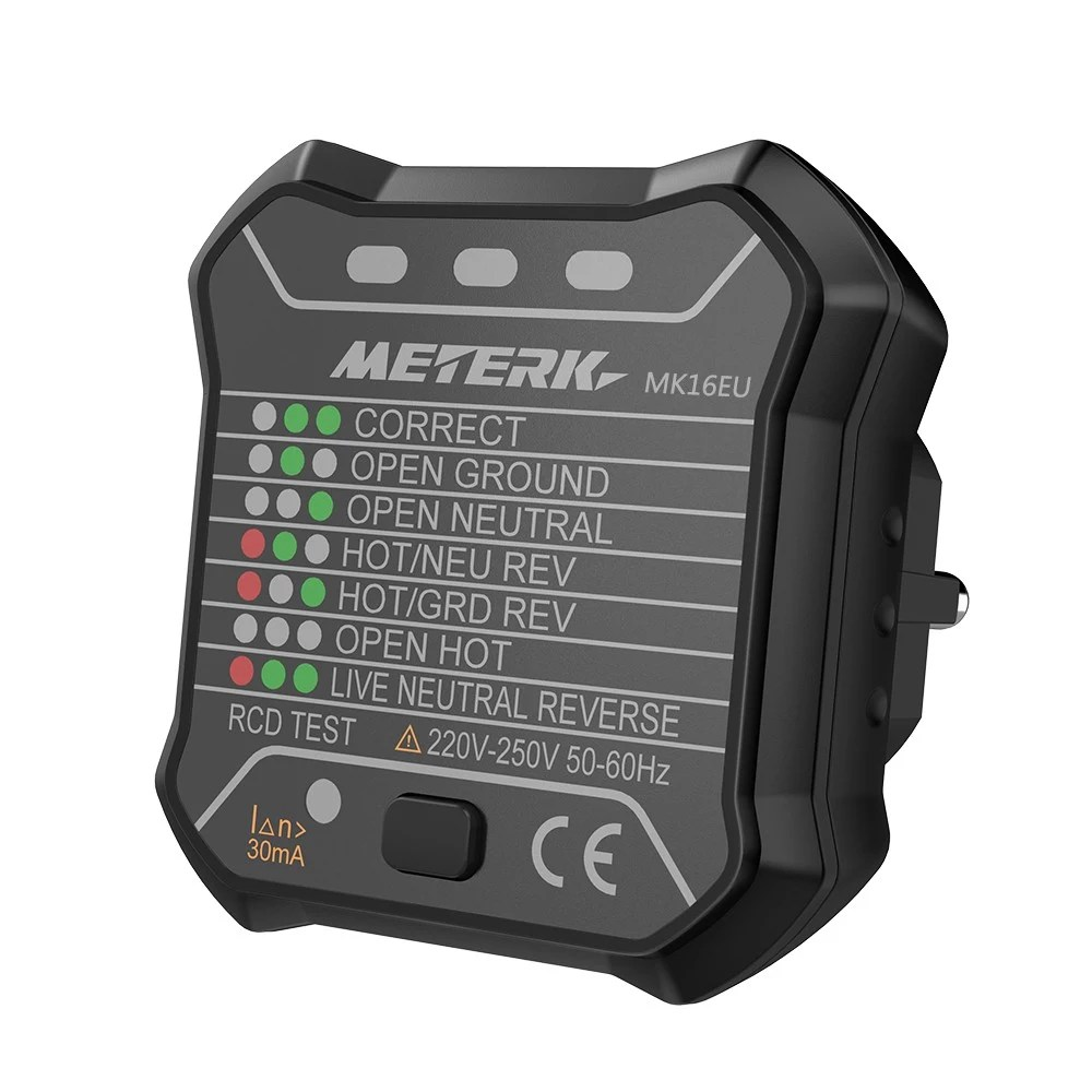 medium resolution of meterk advanced rcd electric socket tester automatic neutral live earth wire testing electric circuit polarity detector wall plug breaker finder electric