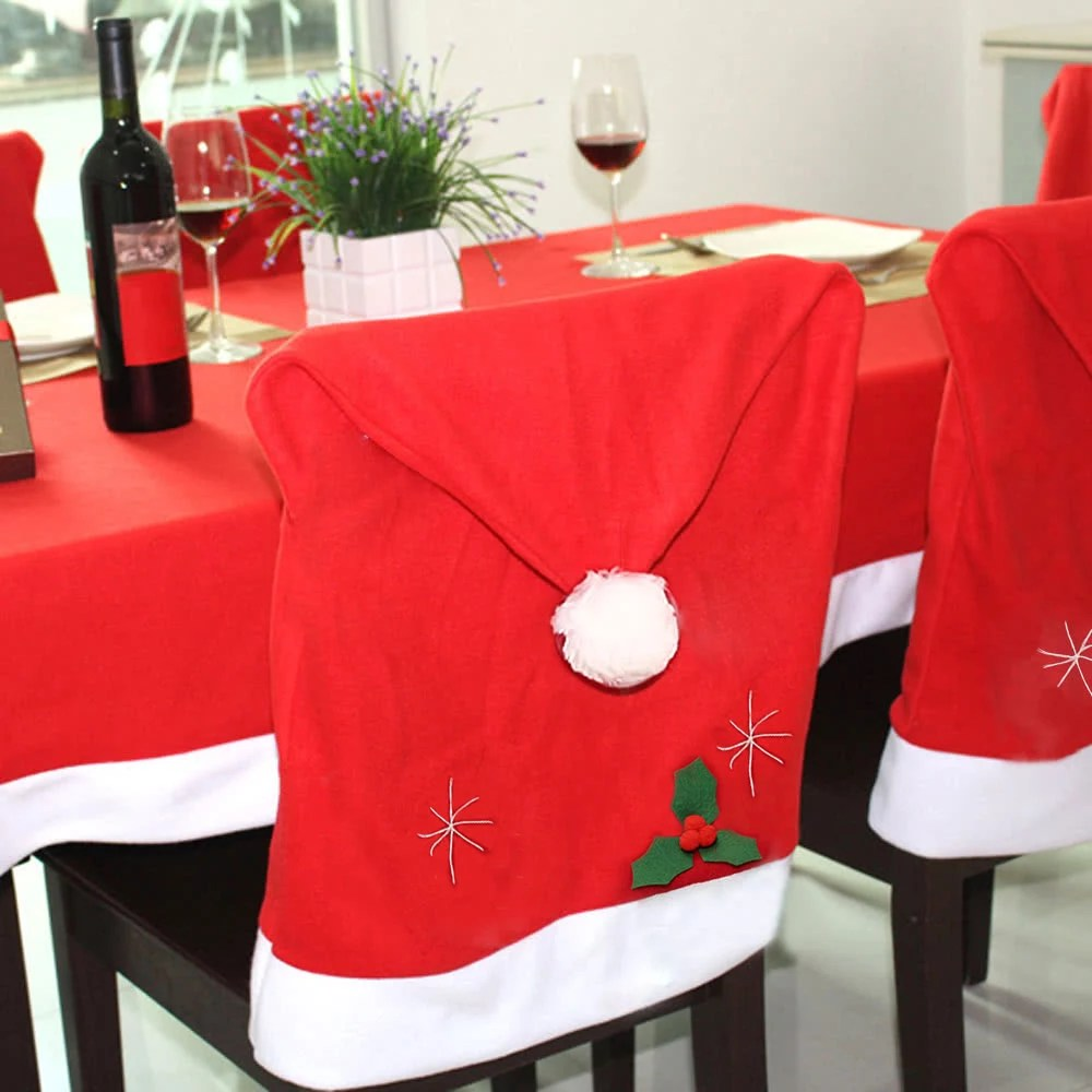 christmas chair back covers ireland wicker outdoor dining chairs cute santa claus red hat cover xmas kitchen decoration supply sales online tomtop