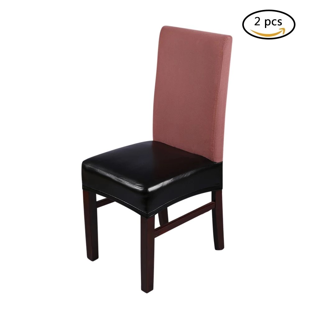 Dining Chair Slipcover 2pcs Pu Leather Stretchable Dining Chair Seat Covers Waterproof Oilproof Dustproof Ceremony Chair Slipcovers Protectors Pure Black