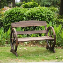 Ikayaa 2 Seater Outdoor Wood Bench With Backrest Rustic