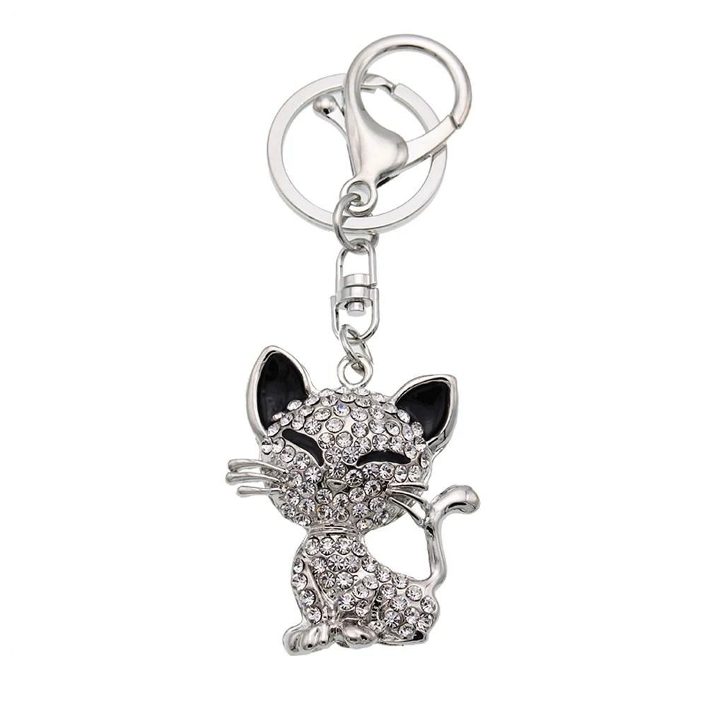 Animal Style Alloy Crystal Rhinestone Key Chain Hollow