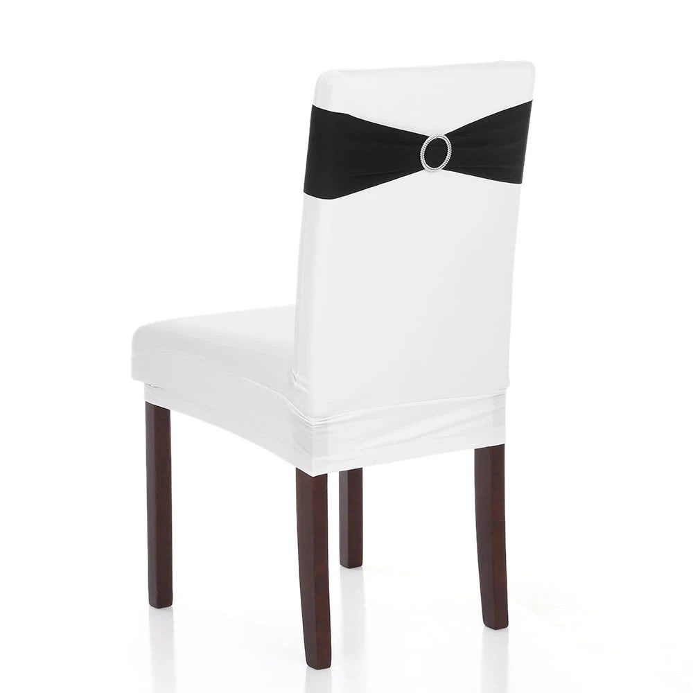 how to make easy chair covers for wedding target folding chairs black 50pcs decorations elastic spandex cover sashes bows bands with buckle slider 7 colors