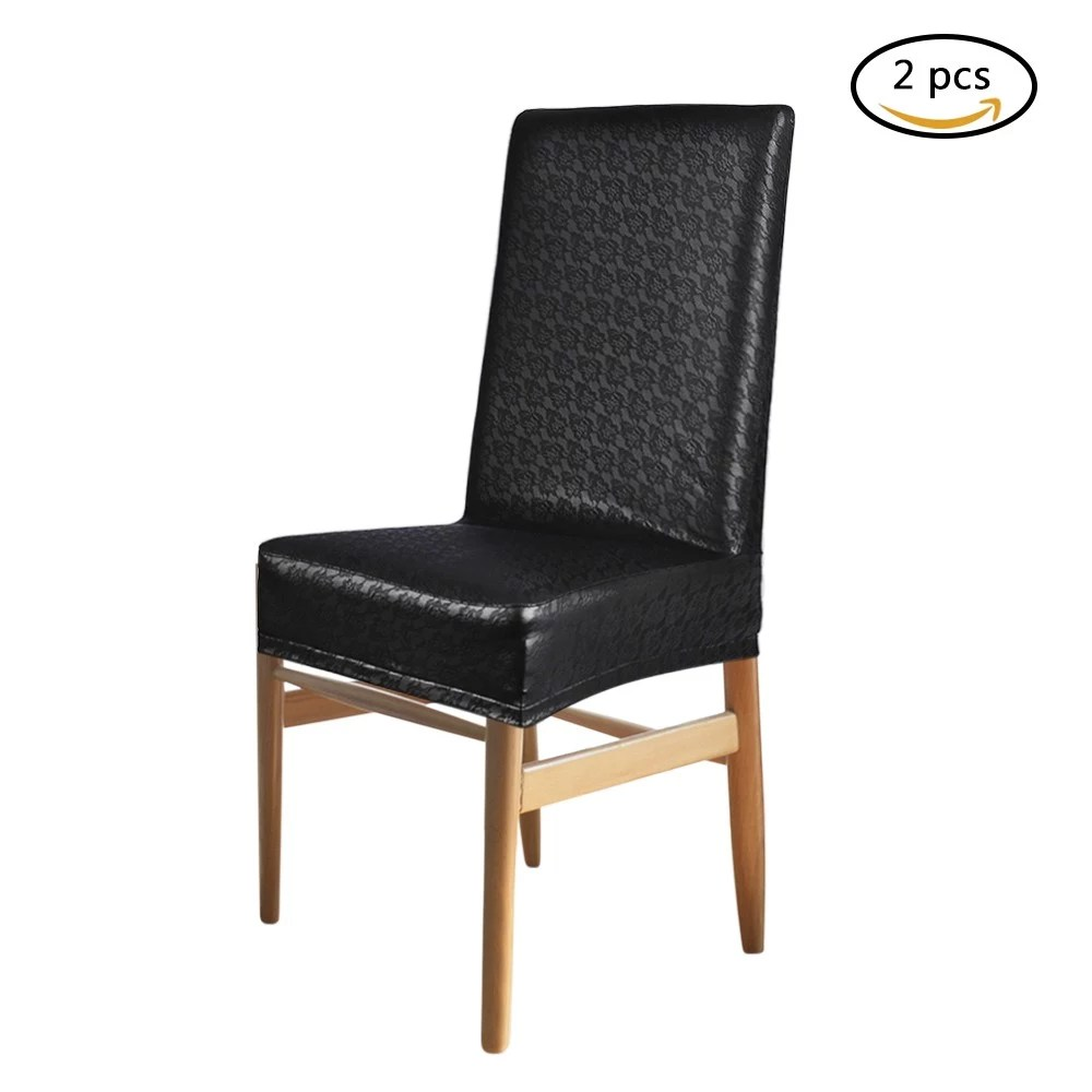Dining Chair Slipcover 2pcs One Piece Pu Leather Lace Pattern Dining Chair Seat Covers Waterproof Oilproof Dustproof Stretchable Chair Slipcovers Protectors Red
