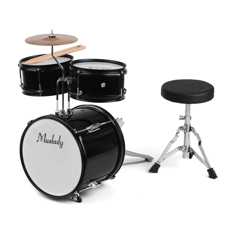 muslady kids children junior beginners 3 piece drum set drums kit