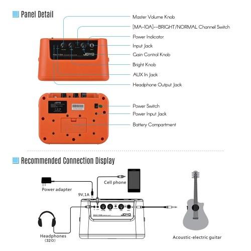small resolution of joyo ma 10a mini portable acoustic guitar amplifier speaker