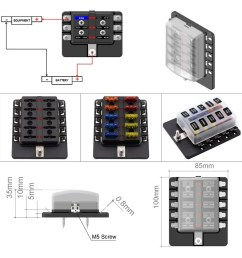 10 way blade fuse box with led indicator fuse block for car boat marine caravan 20 fuses [ 1000 x 1000 Pixel ]