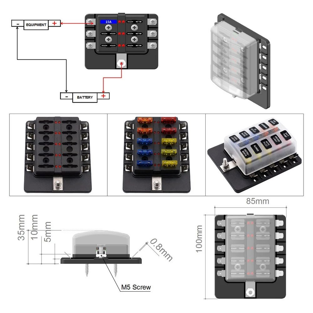 hight resolution of 10 way blade fuse box with led indicator fuse block for car boat marine caravan 20 fuses