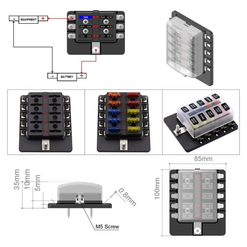 small resolution of 10 way blade fuse box with led indicator fuse block for car boat marine caravan 20 fuses