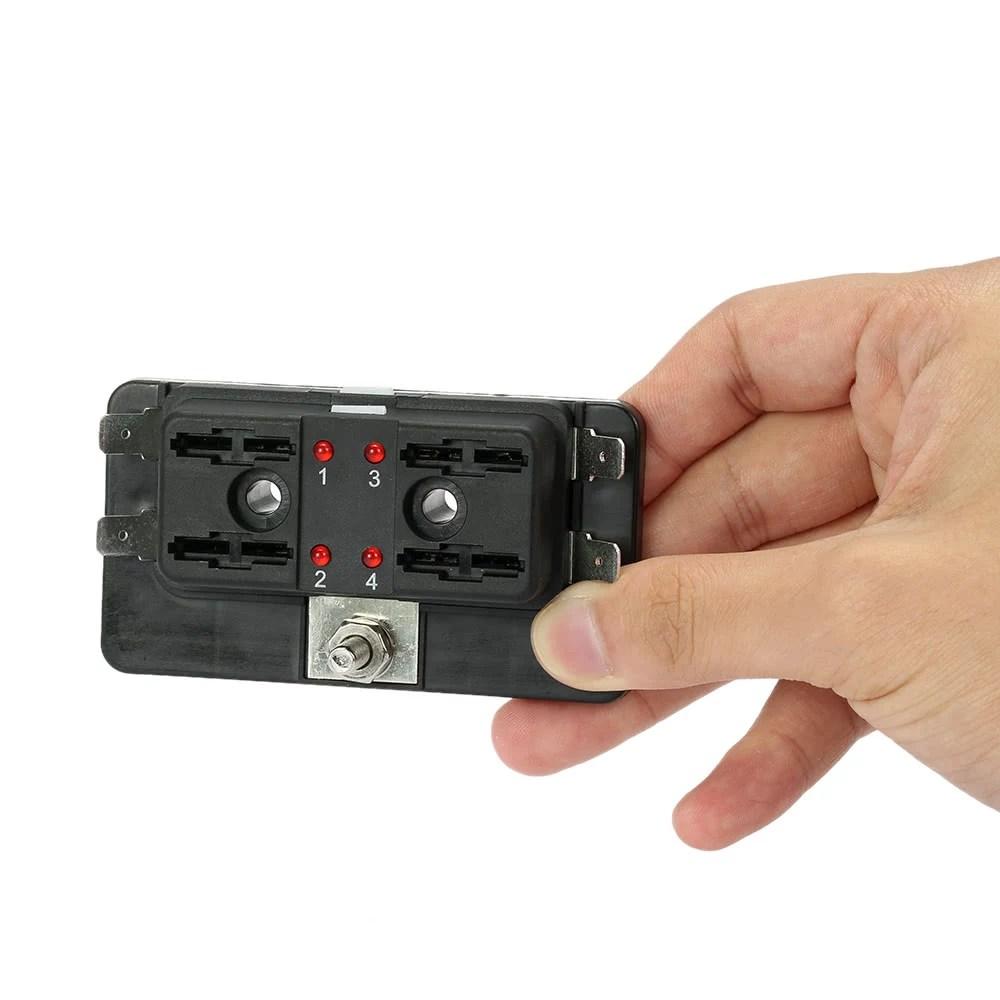 hight resolution of 4 way blade fuse box holder with led warning light kit for car boat marine trike 12v 24v sales online black tomtop