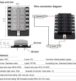 12 way blade fuse box holder fuse blocks with red led indicator 10pcs fuses 10pcs terminals for car boat marine caravan truck 12v 24v [ 1000 x 1000 Pixel ]